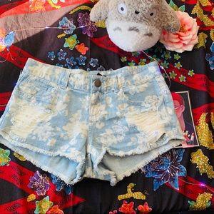 XXI Blue Floral Denim Shorts